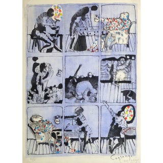 """Jacques Lagrange French Lithograph """"The Burdens of Money"""" For Sale"""