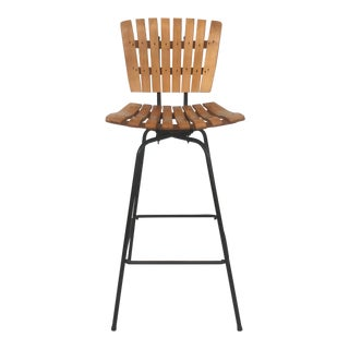 Vintage Swivel Slat Stool For Sale