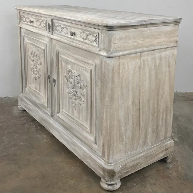 Country 19th Century Country French Louis XVI Whitewashed Buffet For Sale - Image 3 of 13