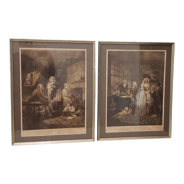 18th Century George Morland Hand Colored Mezzotints Published by T. Simpson, London 1789 For Sale