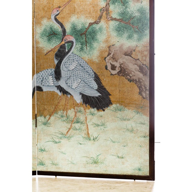 """2010s Japanese Style 2-Panel """"Cranes at Rest"""" Hand-Painted Gold Foil Screen by Lawrence & Scott For Sale - Image 5 of 11"""