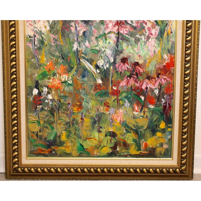"""Impressionist Large Impressionist Botanical Framed Original Oil Painting, """"Fire Candle"""" by Geraldine Harty For Sale - Image 3 of 13"""