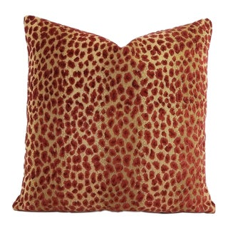 "Cowtan & Tout Ocelot in Red and Cafe Pillow Cover - 20"" X 20"" For Sale"