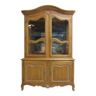 Ethan Allen Country French Bisque China Cabinet Hutch Curio Display For Sale