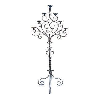 18c Spanish Cast Iron Floor Candelabra For Sale
