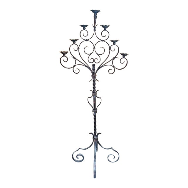 18c Spanish Cast Iron Floor Candelabra - Image 1 of 10