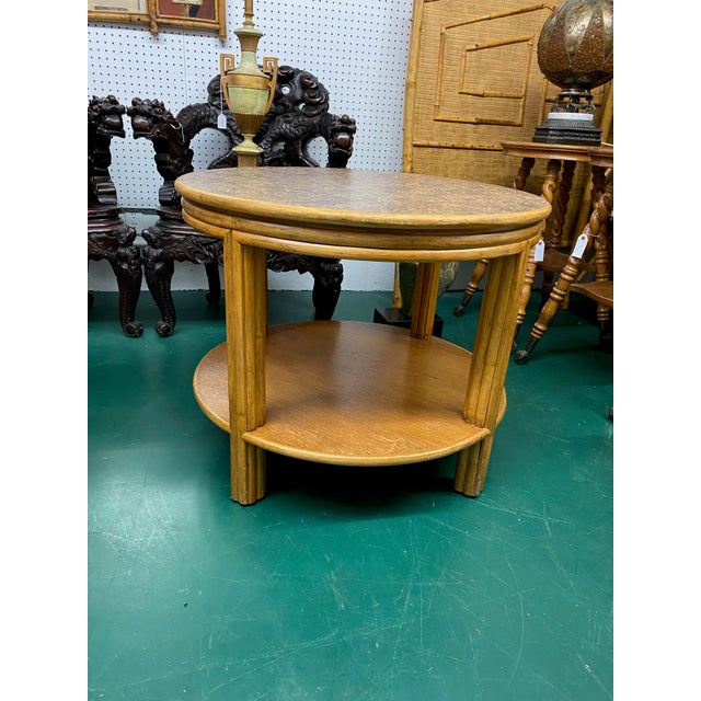 McGuire 1960s McGuire Round Bamboo Two Tier Side Table For Sale - Image 4 of 4