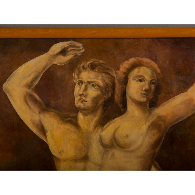 Vintage Dutch Oil painting of Adam and Eve by M. Raemdonck, 1942 For Sale - Image 4 of 7