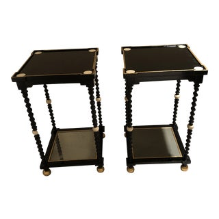 Black Wooden Weymouth Side Tables - A Pair For Sale