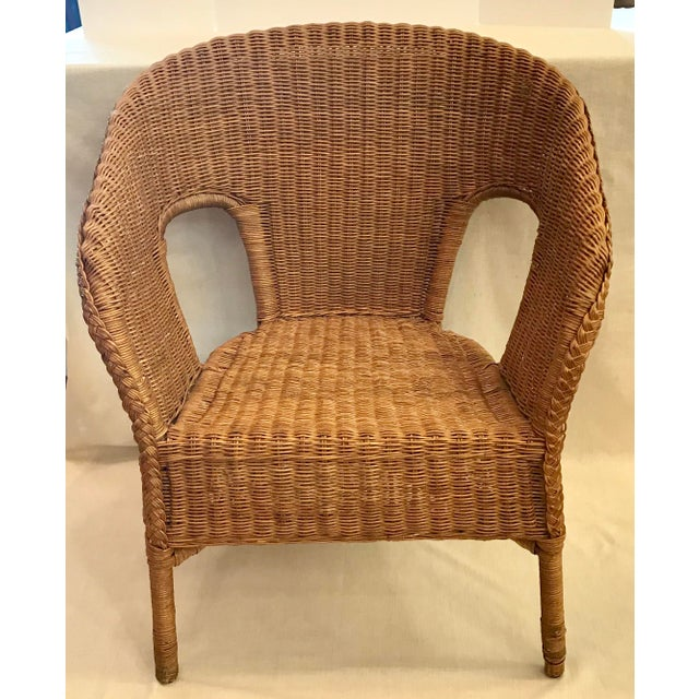 Boho Chic Late 20th Century Vintage Barrel Back Natural Wicker Chair For Sale - Image 3 of 13