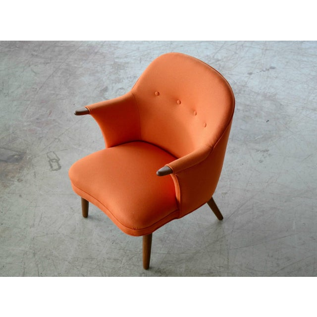 Mid-Century Modern 1950s Small Danish Mama Bear Style Lounge Chair in the Manner of Kurt Olsen For Sale - Image 3 of 10