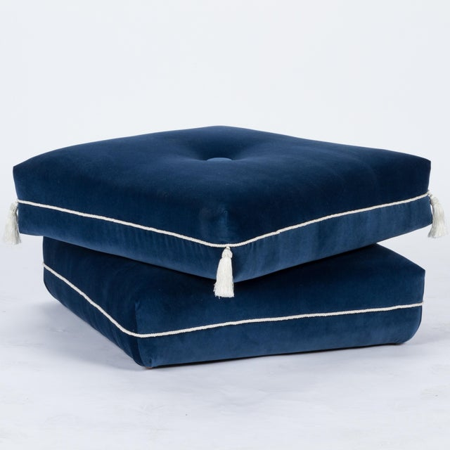 Traditional Casa Cosima Turkish Ottoman in Cadet Blue Velvet For Sale - Image 3 of 7