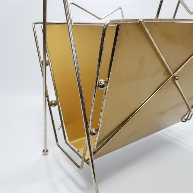 Rare Atomic Mid Century Modern Magazine Holder Rack - Sputnik Era 1950s Abstract Minimalist Art Deco For Sale - Image 10 of 13