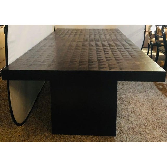 Hollywood Regency Hollywood Regency Style Ebonized Oak Dining Table and Two Leaves For Sale - Image 3 of 13