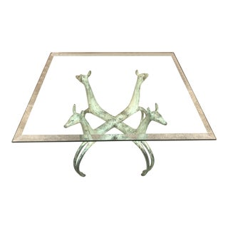 1920s Art Nouveau Iron Gazelle Head Square Coffee Table For Sale