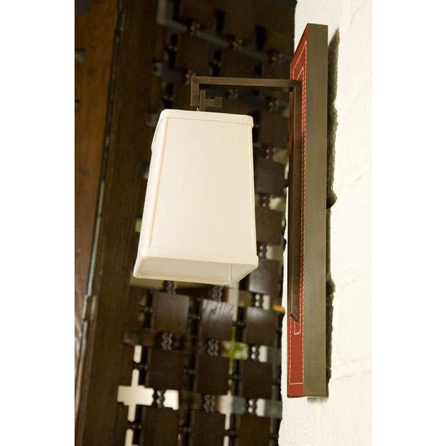 Paul Marra Leather Back Sconce with Tapered Linen Shade - Image 5 of 6
