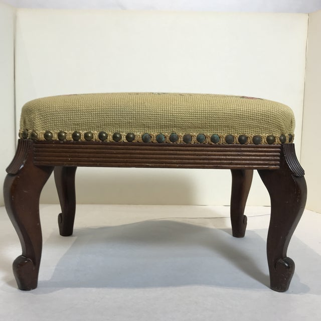 1940s Shabby Chic Needlepoint Footstool For Sale - Image 4 of 9