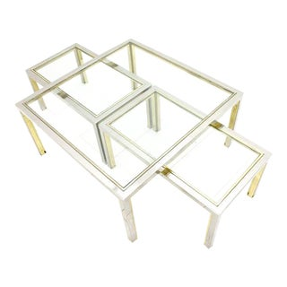 Set of Three Tables, Glass and Metall, France 1970`s For Sale