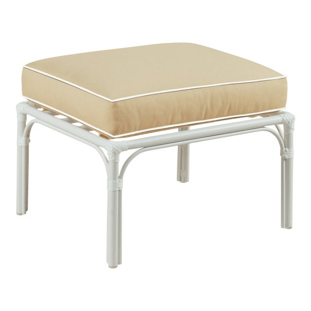 Haven Outdoor Ottoman, Antique Beige and White For Sale