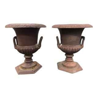 Early 20th Century Cast Iron Campana Style Garden Urns - A Pair For Sale