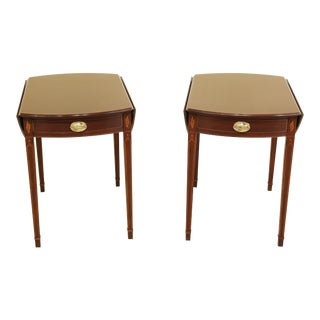 Pair Henkel Harris Federal Inlaid Mahogany Pembroke Tables For Sale