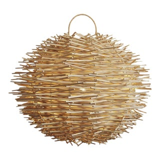 Bird Nest Rattan Globe Lantern Small For Sale