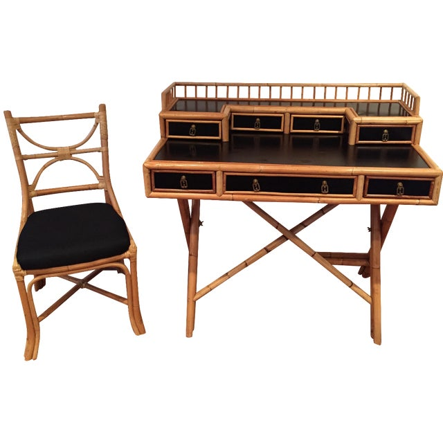 Black Lacquer & Bamboo Campaign Desk & Chair - Image 1 of 11