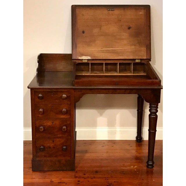Late 19th Century Victorian Burly Walnut Lift Top Desk, Side Drawers Turned Legs For Sale - Image 5 of 10