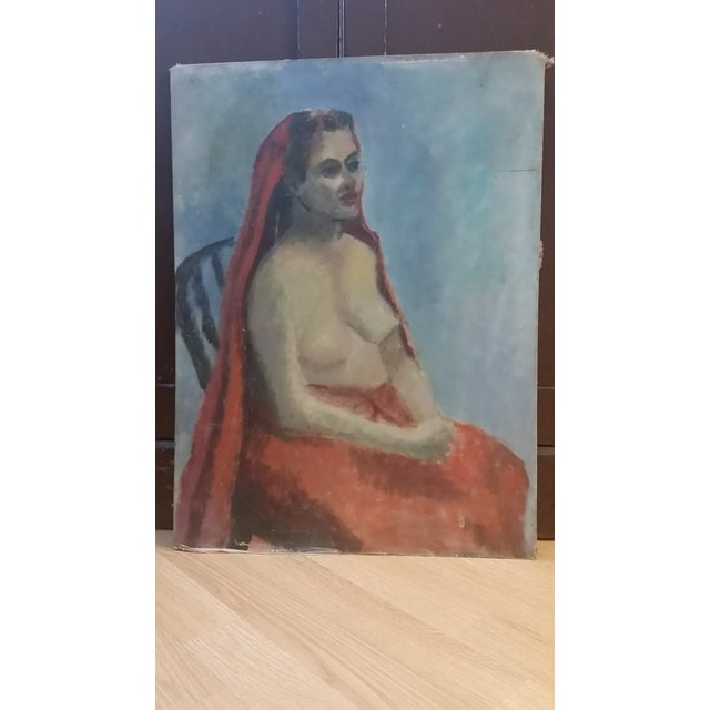 Nude Oil on Board Painting, 1940s - Image 8 of 8