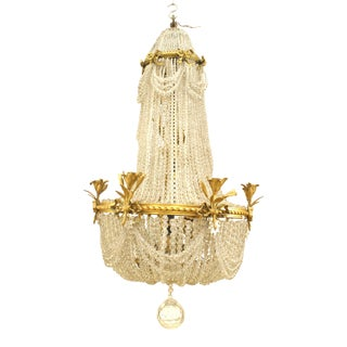French Victorian Beaded Crystal and Brass Chandelier For Sale