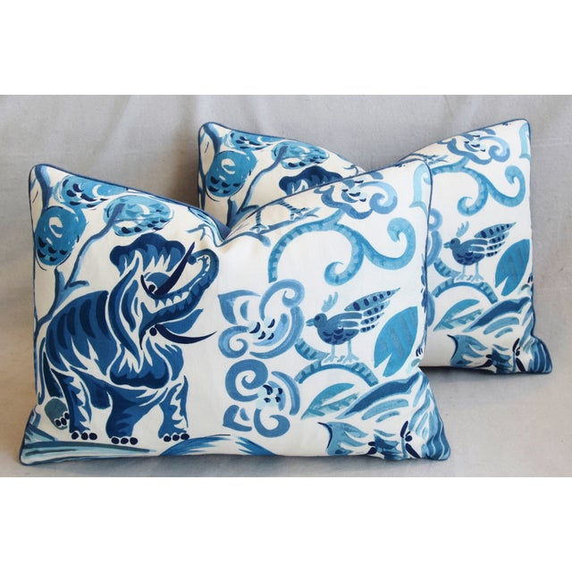 """P. Kaufmann Blue & White Animal Feather/Down Pillows 22"""" X 16"""" - Pair For Sale - Image 12 of 13"""