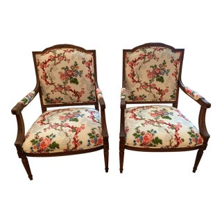 Vintage Mid Century Pair Ethan Allen Floral Accent Chairs For Sale