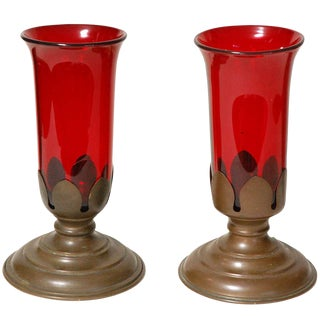 Antique Pair Red Glass Vases in Stands For Sale