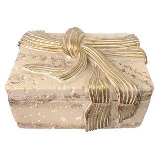 Jaru Cast Stone Ceramic Box With Bow Motif For Sale