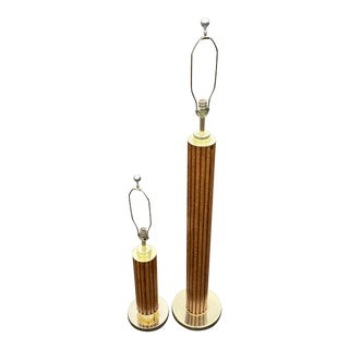 1980s Faux Bamboo & Brass Table Floor Lamp by Nova of California - Set of 2 For Sale