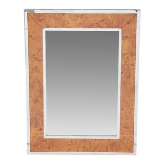 """Burled Wood """"Fulton"""" Wall Mirror For Sale"""
