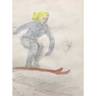 """""""Lady Skiing"""" Watercolor Painting C. 1950 For Sale"""