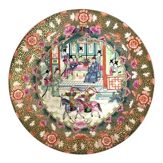 Great Qianlong Rose Mandarin 'Chinese Warriors & Horses' Double Sided Charger/Plate For Sale