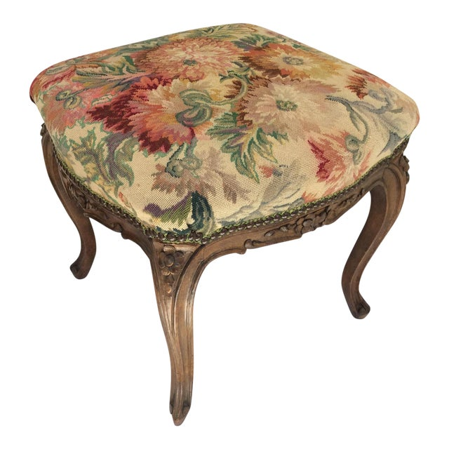 Antique French Tapestry Stool For Sale