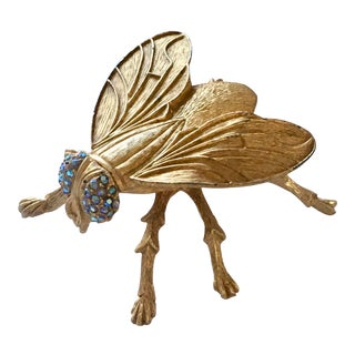 Vintage Gilt Metal Fly Trinket Box by Marhill For Sale