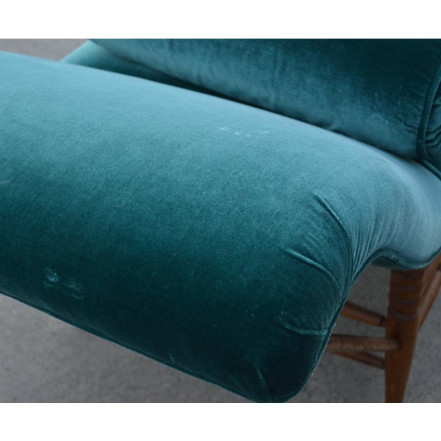 Late 19th Century Antique Peacock Velvet Chaise Lounge For Sale - Image 4 of 11
