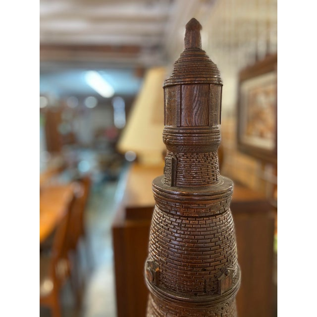Folk Art Lighthouse + Village Wood Carved Sculpture For Sale - Image 3 of 13