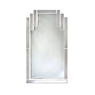 Mid-Century Modern Wood Lacquered Stepped Mirror