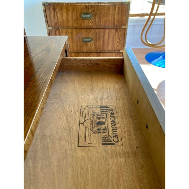 Late 20th Century Dixie Campaign Desk With Hutch For Sale In Seattle - Image 6 of 13