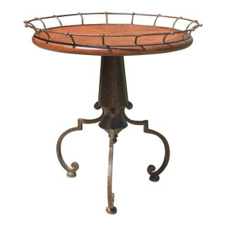 Leather Top Round Cigar Table For Sale