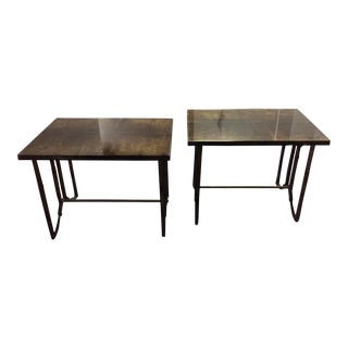 1960s Mid-Century Italian Modern Aldo Tura Lacquered Goatskin Side Tables - a Pair For Sale