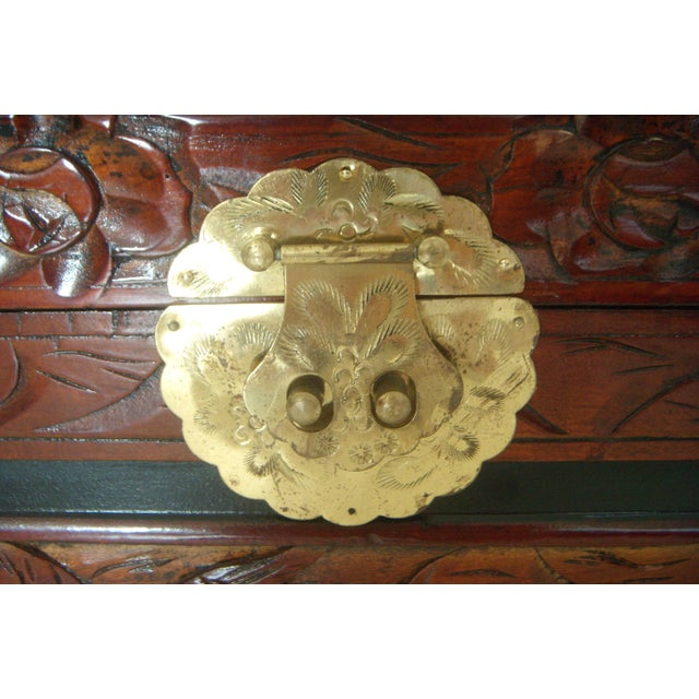 Vintage Chinese Hand Carved Wood Storage Chest / Trunk For Sale In Tampa - Image 6 of 7