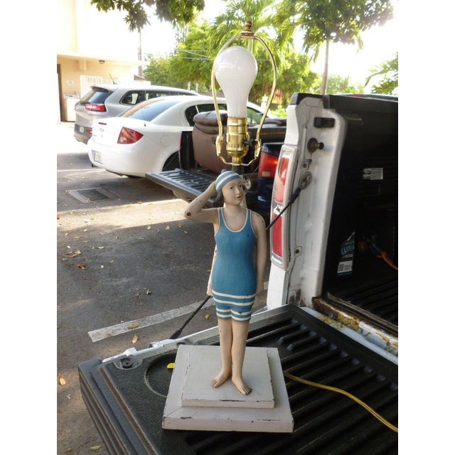 Wood 1990s Vintage Figure in Swimming Suit Lamp For Sale - Image 7 of 7
