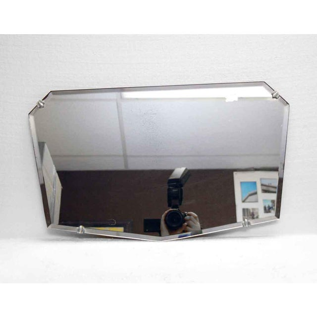 Art Deco Unusual Small Geometric Shaped Beveled Frameless Mirror For Sale - Image 3 of 6