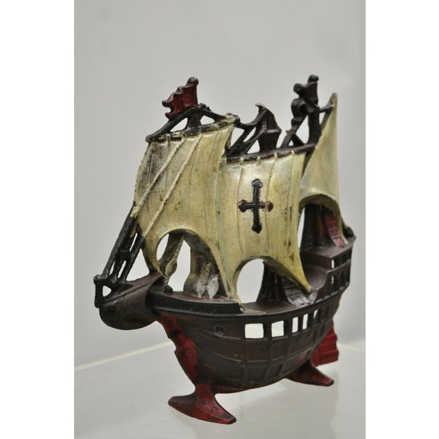 "Antique Cast Iron Metal Clipper Ship Sail Boat 12"" Bookend/Doorstop For Sale - Image 12 of 13"